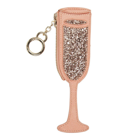 Champagne Flute Coin Purse Keychain