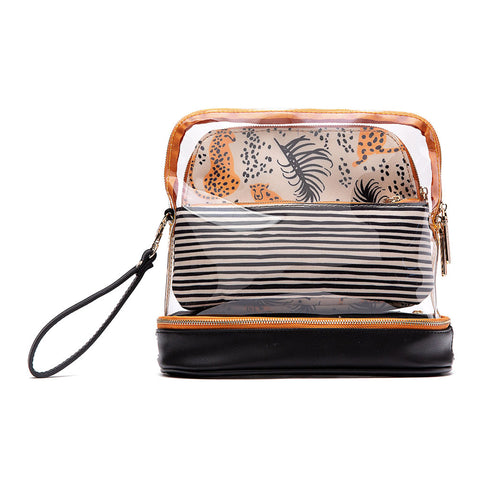 3-Piece Makeup Bag - Cheetah