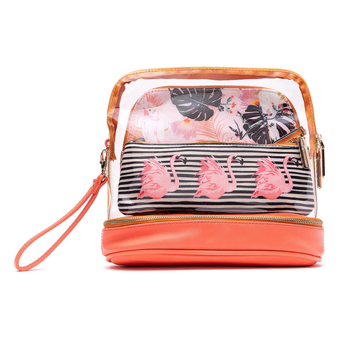 3-Piece Makeup Bag - Flamingo