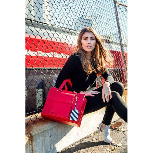 Josslyn Red Convertible Tech Tote & Backpack