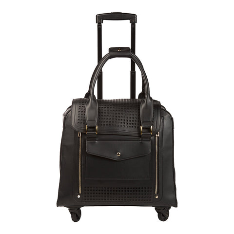 Zadie Perforated Black Rolling Carry-On Tote Bag