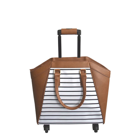 Brown & Striped La Vie Rolling Carry-On Tote Bag