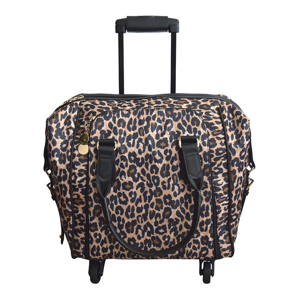 Catalina Leopard Nylon Rolling Carry-On Tote Bag