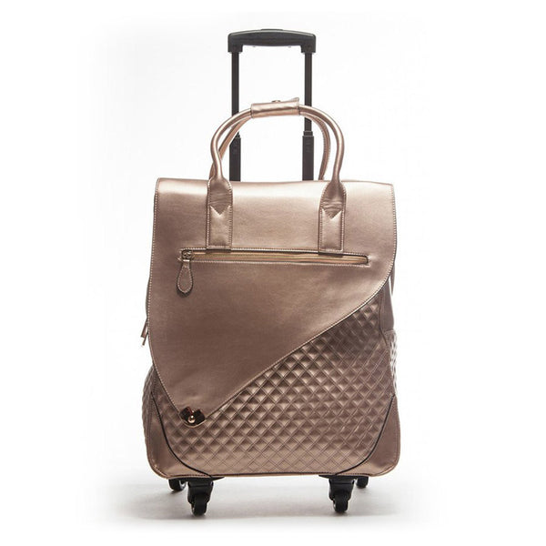 Cosmos Metallic Rose Gold Rolling Carry-On Tote Bag