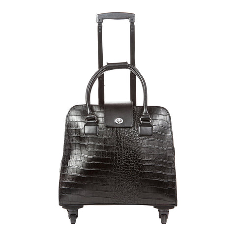 Harlequin Black Crocodile Rolling Carry-On Bag