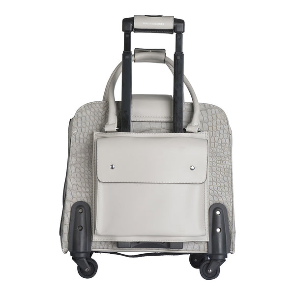 Harlequin Grey Crocodile Rolling Trolley Bag