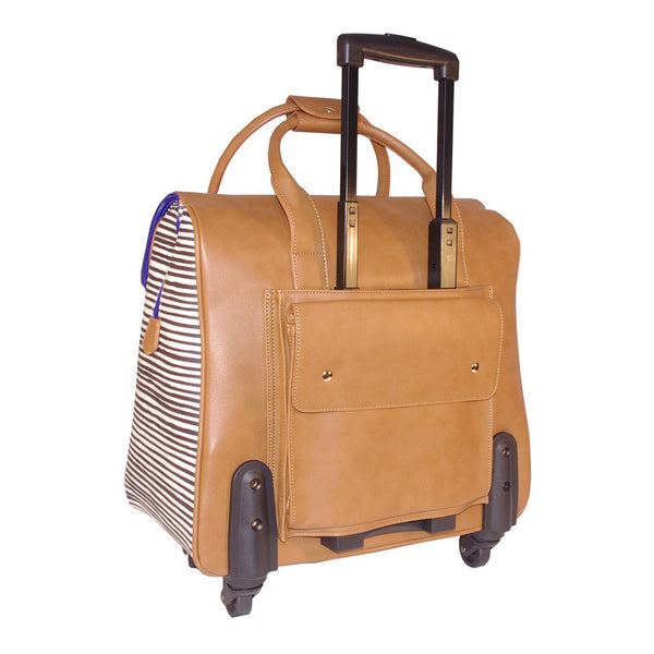 Camellia Brown & Stripe Coordinating Luggage Set