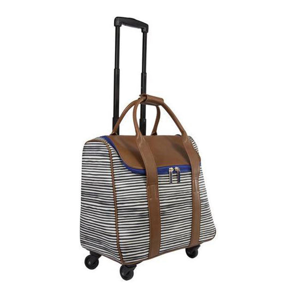 Camellia Stripe & Caramel Rolling Carry-On Tote Bag