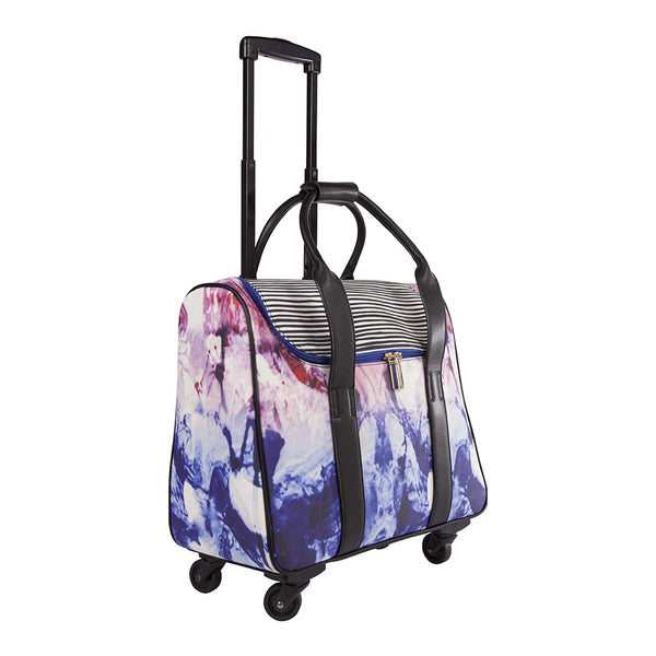 Camellia Marble & Stripe Rolling Carry-On Tote Bag