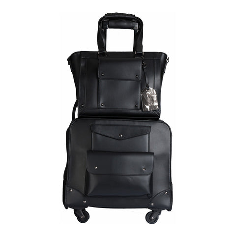 Josslyn Black Rolling Carry-On & Tote Bag Set