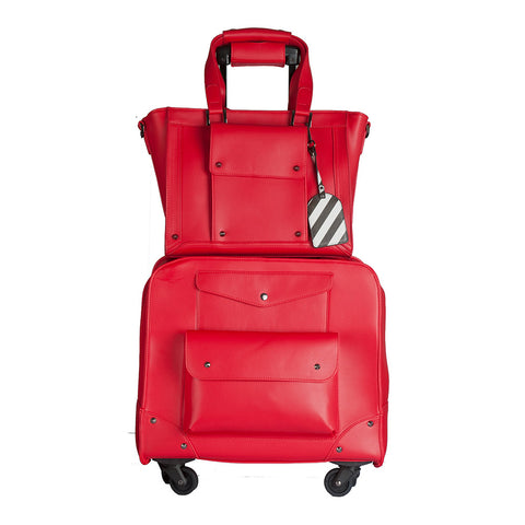 Josslyn Red Rolling Carry-On & Tote Bag Set
