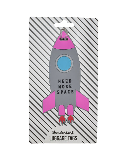 Need More Space Rocket Ship Luggage Tag