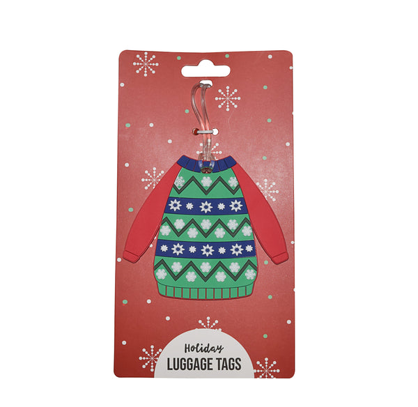 Stripe Ugly Christmas Sweater Holiday Luggage Tag