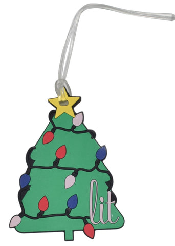 Lit Christmas Tree Luggage Tag