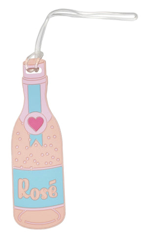 Rose Champagne Bottle Luggage Tag