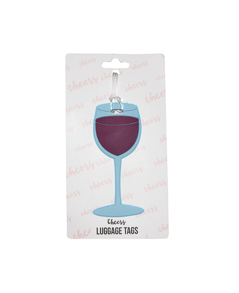 Red Wine Glass Luggage Tag