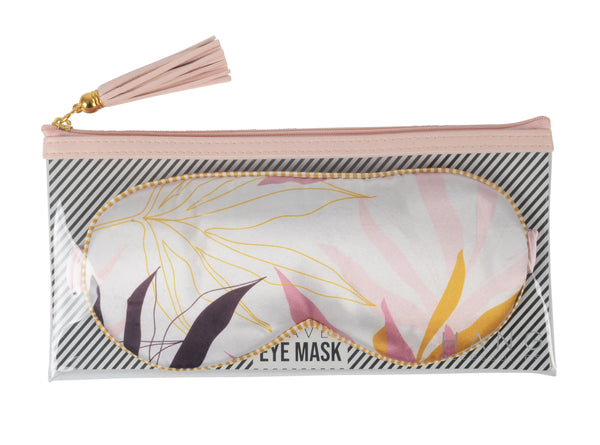 Mauve Leaf Satin Travel Eye Mask