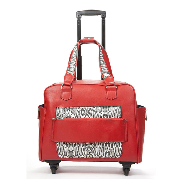 Caiman Red & White Reptile Rolling Trolley Bag