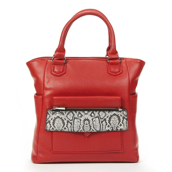 Caiman Red & White Reptile Tech Crossbody Tote Bag