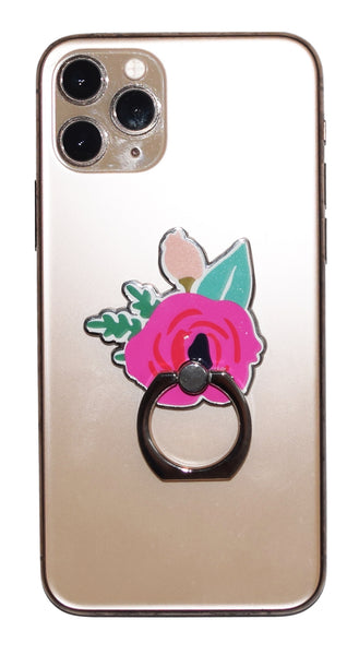 Fuschia Flower Enamel Mobile Phone Ring