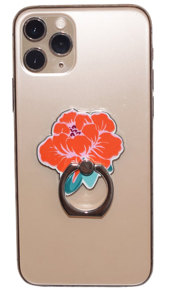 Orange Flower Enamel Mobile Phone Ring