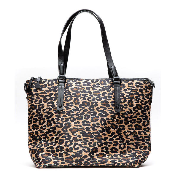 Catalina Leopard Nylon Laptop Tote
