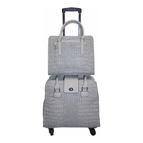 Harlequin Grey Croc Coordinating Luggage Set