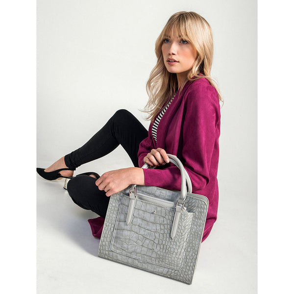 Harlequin Grey Crocodile Tote Bag