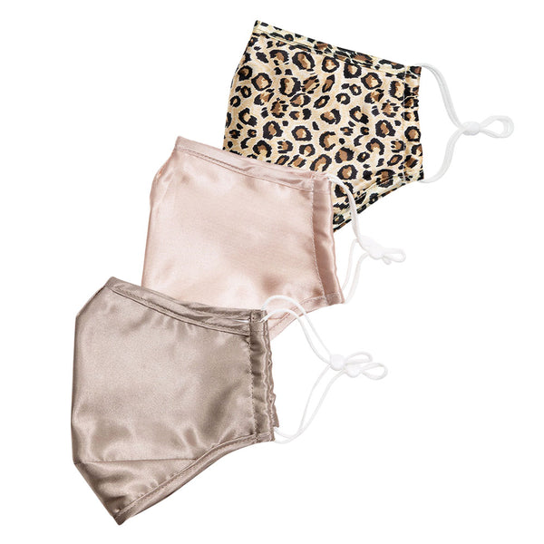 Taupe & Blush Satin, Leopard Silk Face Cover Set + 6 Filters