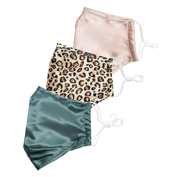 Teal & Blush Satin, Leopard Silk Face Cover Set + 6 Filters