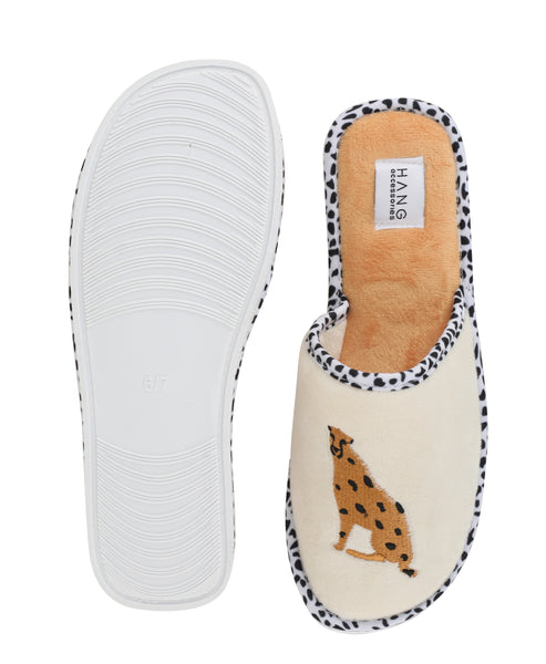 Cheetah Foldable Travel Slippers