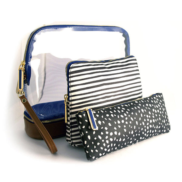 Millie 3-piece Makeup Bag - Black Line & Dot