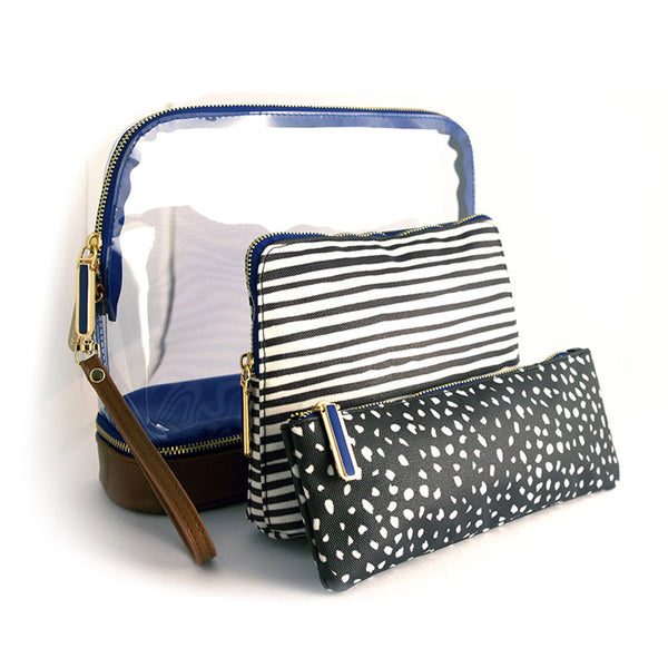 Millie 3-piece Makeup Bag - Black Dot & Marble