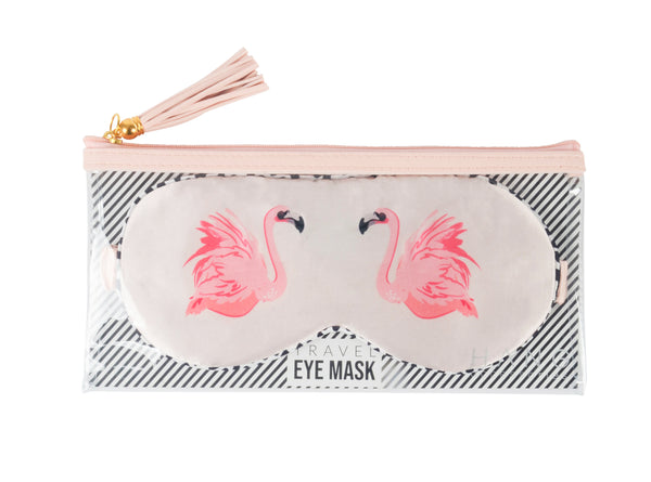 Flamingo Satin Travel Eye Mask