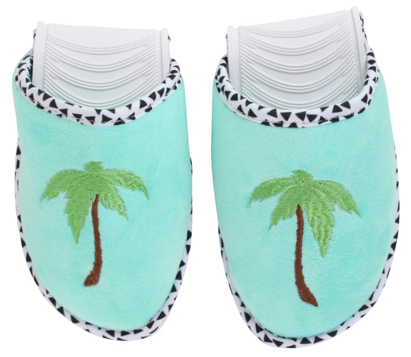 Palm Tree Foldable Travel Slippers & Palm Eye Mask Set