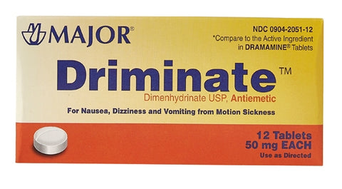 Major brand Driminate (Dimenhydrinate USP, Antiemetic)