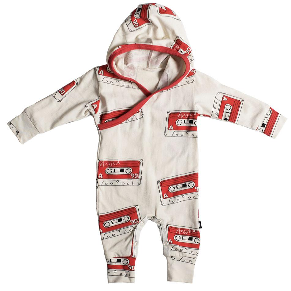Anarkid Organic Cotton Mix Tape Hooded Romper - Naked Baby Eco Boutique