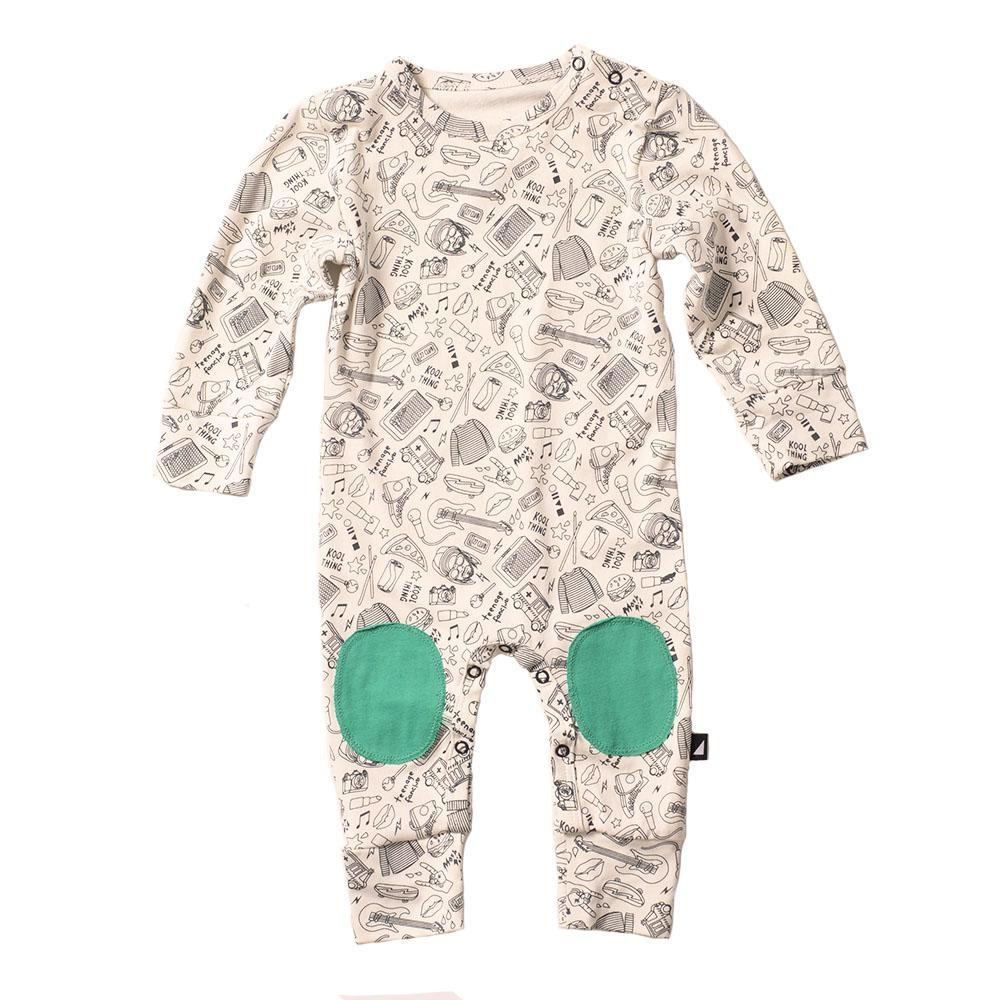 Anarkid Organic Cotton Mosh Pit Band Patch Romper - Naked Baby Eco Boutique
