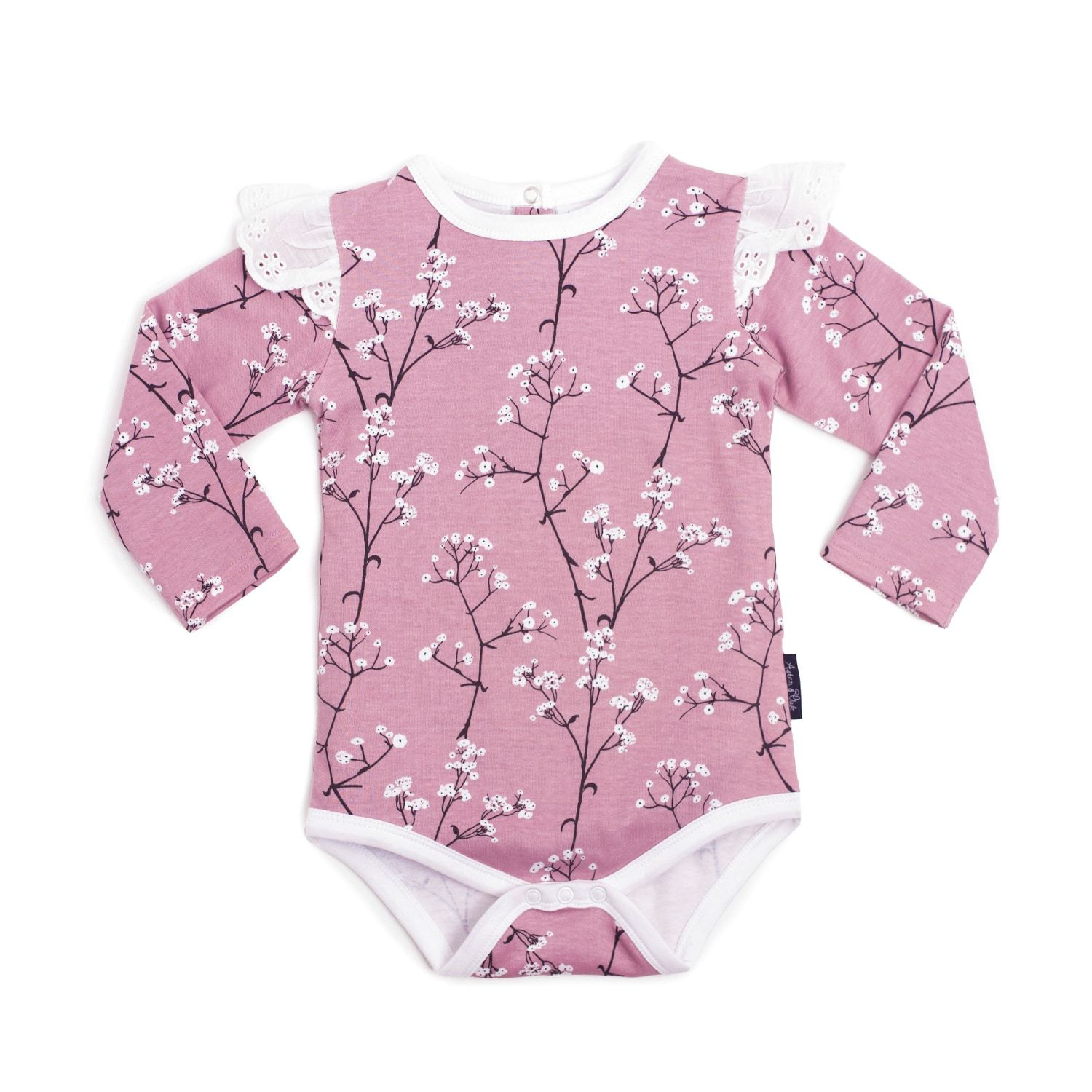 PRE-ORDER: Aster & Oak Organic Cotton Baby's Breath AOP Onesie - Naked Baby Eco Boutique