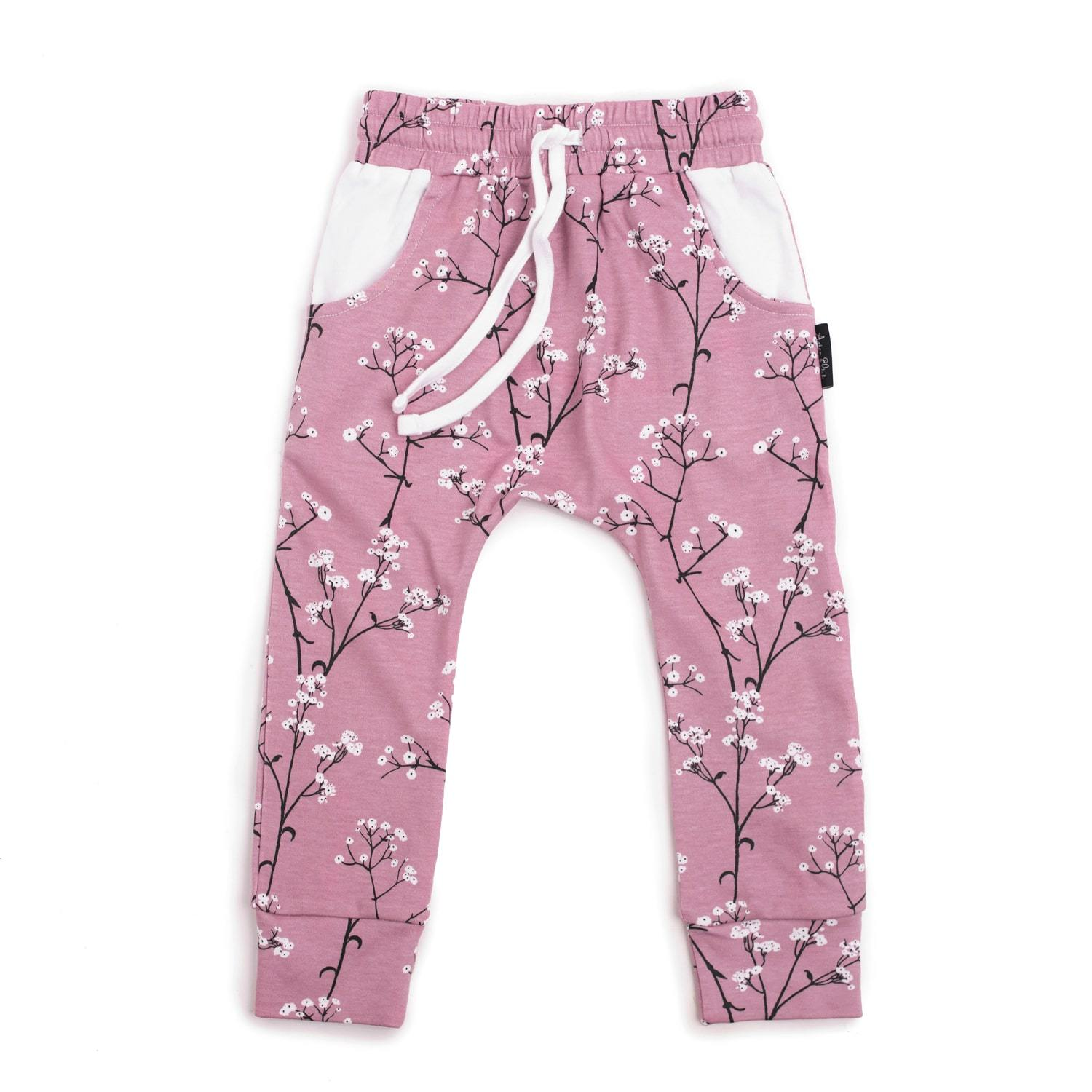 PRE-ORDER: Aster & Oak Organic Cotton Baby's Breath Harem Pants - Naked Baby Eco Boutique