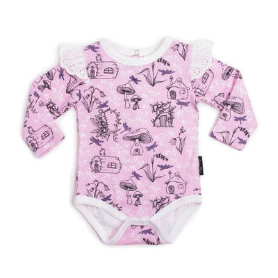 PRE-ORDER: Aster & Oak Organic Cotton Fairy Garden AOP Flutter Onesie - Naked Baby Eco Boutique