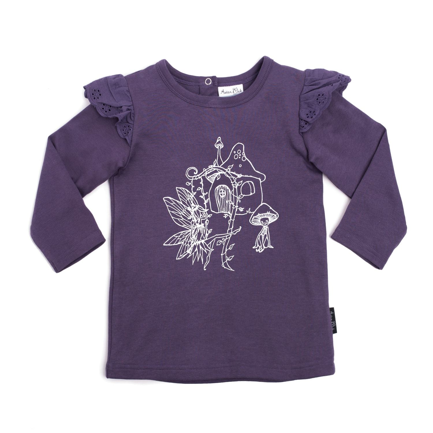 PRE-ORDER: Aster & Oak Organic Cotton Fairy Print Flutter Tee - Naked Baby Eco Boutique