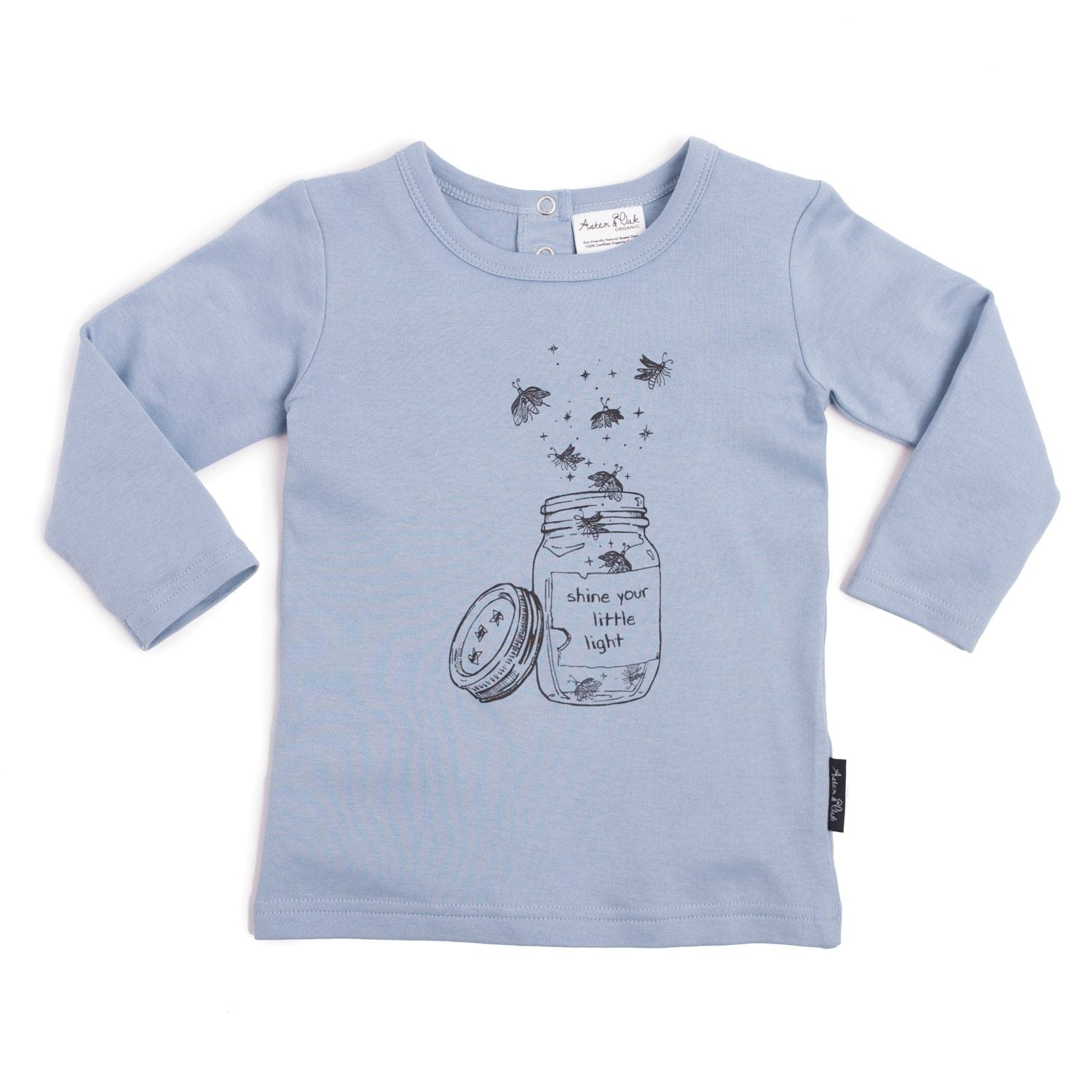 PRE-ORDER: Aster & Oak Organic Cotton Firefly Jar Print Tee - Naked Baby Eco Boutique