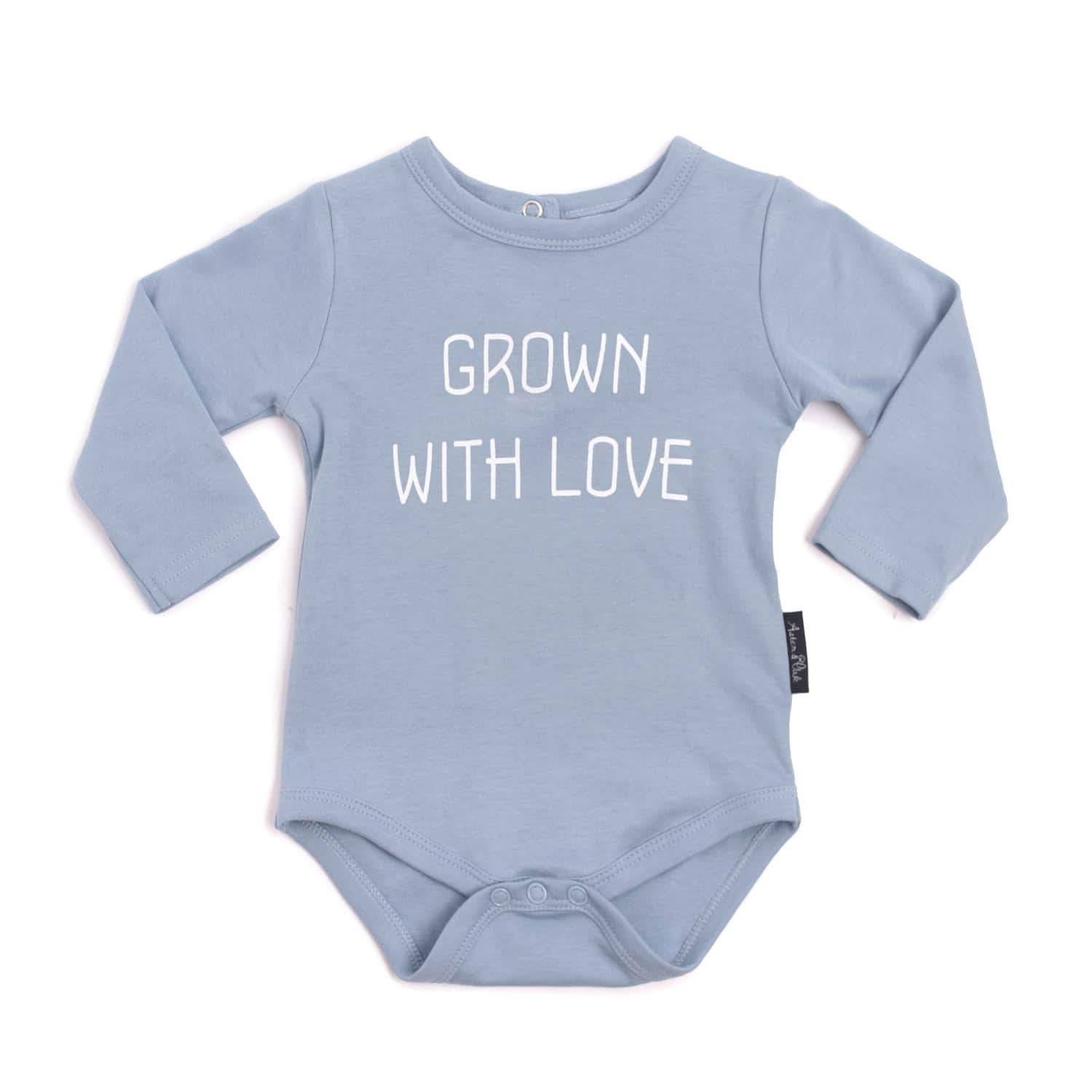 PRE-ORDER: Aster & Oak Organic Cotton Grown with Love Onesie (Blue) - Naked Baby Eco Boutique