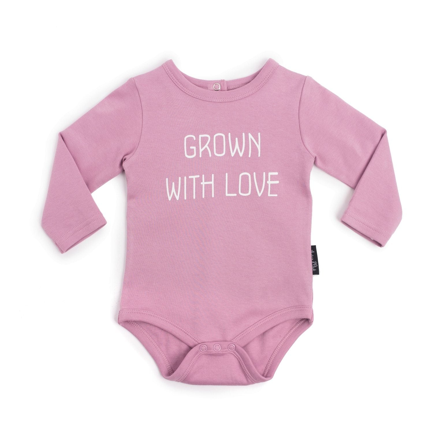 PRE-ORDER: Aster & Oak Organic Cotton Grown with Love Onesie (Rose) - Naked Baby Eco Boutique