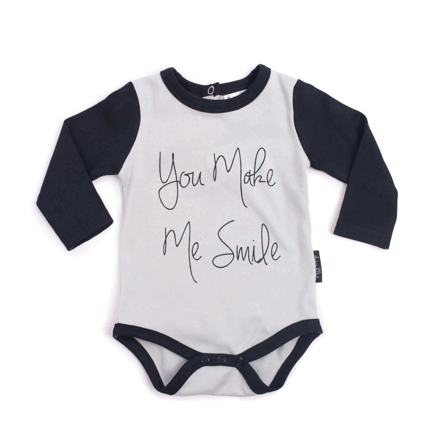 PRE-ORDER: Aster & Oak Organic Cotton You Make Me Smile Onesie - Naked Baby Eco Boutique