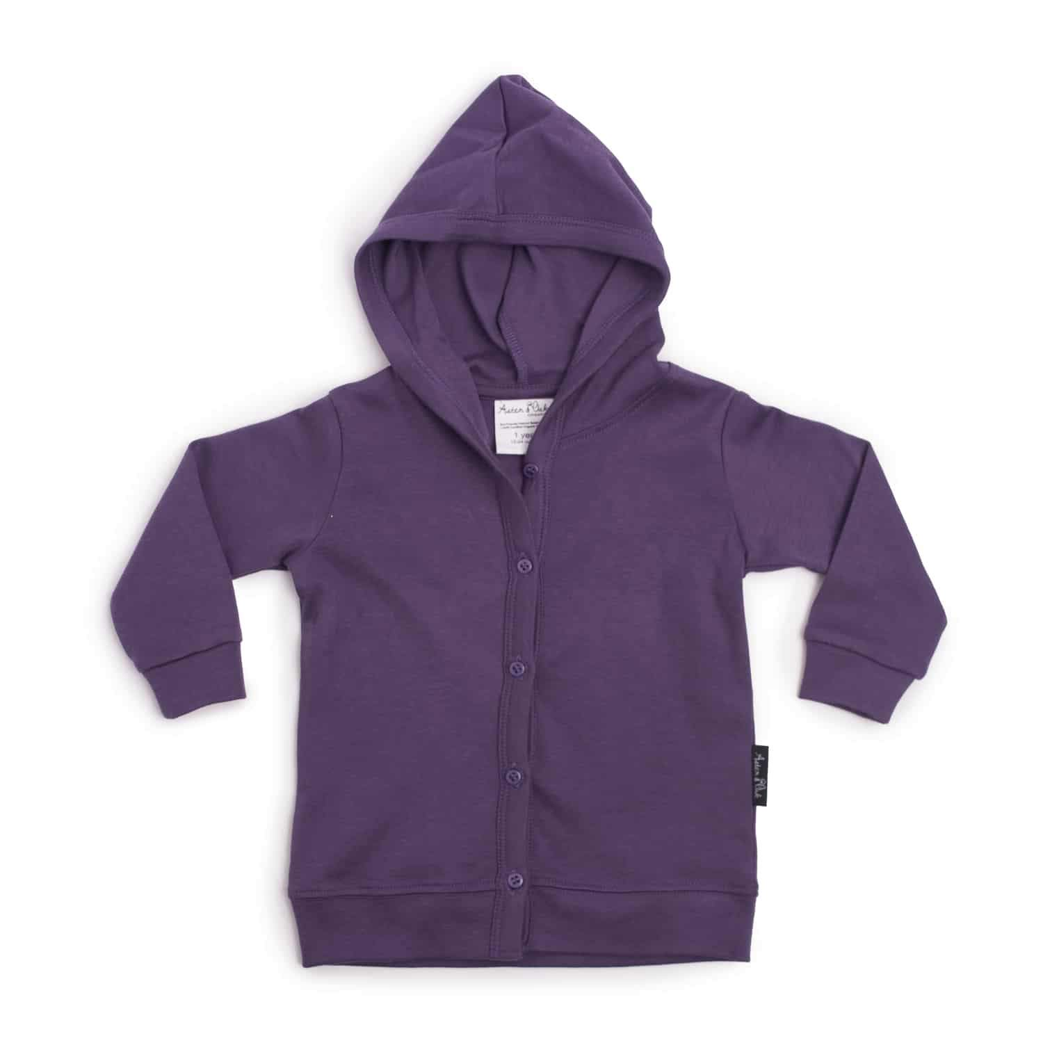 PRE-ORDER: Aster & Oak Organic Cotton Lightweight Hooded Cardigan (Berry) - Naked Baby Eco Boutique