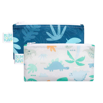 Blue Tropic/Dinosaurs Bumkins Small Reusable Snack Bags (2-Pack) - Multiple Styles - Naked Baby Eco Boutique