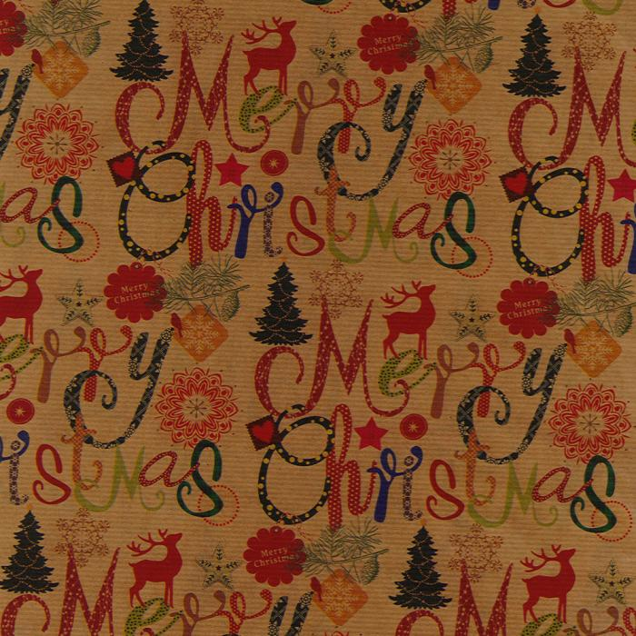 Christmas Wrap - Kraft Script - Naked Baby Eco Boutique
