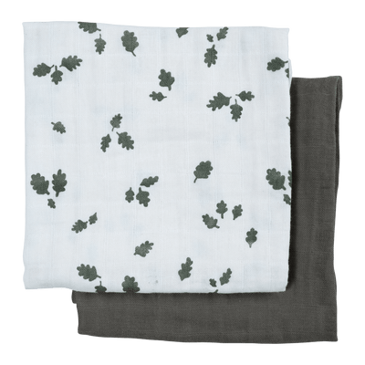 Oak Leaf (Cream Patterned/Olive Green) Fabelab Organic Muslin Squares (Multiple Variants) - Naked Baby Eco Boutique